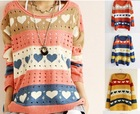 SW-076 New Autumn Sweaters Fashion Hearts Stripe Printed Knitted Pul