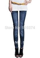 New Fashion Knitting K260 printing styles faux denim jeans women skinny leggings pencil pants slim elastic stretchy tights
