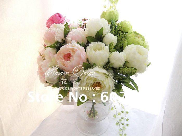 high quality peony,Bridal Bouquet,wedding party table centerpiece,Christmas home decoration silk artificial flower arrangement(China (Mainland))