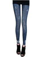 New Fashion knitting JG-02 printing styles faux denim jeans women skinny leggings pencil pants slim elastic stretchy tights S-L