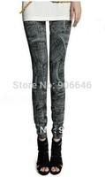 New Fashion Knitting K282 pencil pants for women printing slim elastic faux jeans skinny leggings wholesale retail FREE SHIPPING