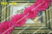 1 Yard hot pink Chiffon Flower Shabby Rose Trim