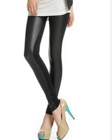 Free Shipping Wholesale Front Faux Leather Panel Leggings Skinny Footless legging Pencil Pants