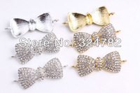 Wholesale 20PCS silver/gold Plated White Crystal Rhinestones Bowknot bow Tie Bracelet Connector Beads jewelry findings