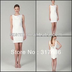 ZCD-032 New Arrival Ladies Pleated Sheath Sleeveless Mini Cream Cocktail Dresses(China (Mainland))