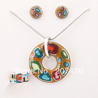 free shipping newest arrival boundary lake alloy enamel jewelry set,1set/pack,(earrings,necklace,ring)