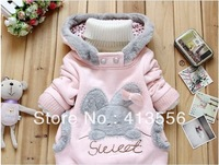 Free Shipping Children's clothing 2013 new arrivel  Rabbit pattern Outerwear cute Fall and winter Jackets coats ok307