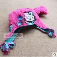 New arrivals 6 sets/lot Hello Kitty kids winter fleece hat ear protector cap +baby girls gloves sets
