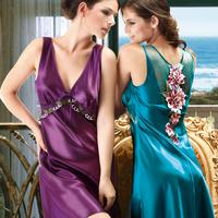 LZ high quality fashion summer polyester silk plus size XXL XXXL women's lounge sexy back lace vest nightgown sleepwear dress