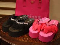 Sew-on big gem elegant chiffon diamond handmade flip flops platform high heels wedges platform sandals