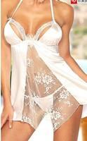 15% OFF S~XXL Pretty ladies satin lingerie babydoll Sexy lace print chemise nighty wear sleepwear purple white Free shipping