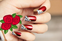 Free shipping,Reality show * arrogant sexy lady wine red super quality oblique French leopard false nails/tips 24pcs/set