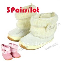 3pairs/lot Warm and Cute winter/Anti-slip Baby Boots/Toddler&Infant's Shoes/Footwear/Baby pre-walkers12.13.14 sizes 9499
