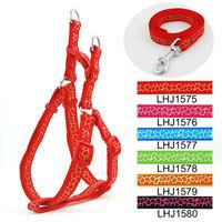 Wholesale Free shipping (6 olors)  6pcs/lot Classic Pet Dog Giraffe harness Leash Lead set 1.5cm