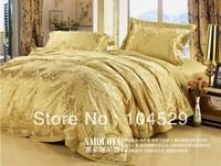 40S Classic European Style silk gold 100% noble luxurious king/queen wedding bedding set / bed sheet /comforter set /duvet cover