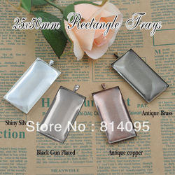 25*50mm 4Colours Mix Order Plated Rectangle blank Pendant trays+ matching clear glass cabochons for custom photo jewelry making(China (Mainland))