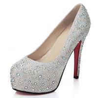 Bqueen fashion luxurious shine rhinestone single shoes platform ultra high heels wedding shoes d093