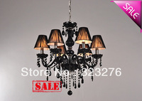 Free Shipping elegance Black crystal with 8 fabric shades pendant lamp suspend candle chandelier residential dinning lighting