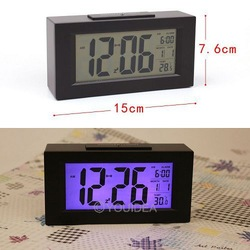 HOT SALE!!! 1set Black& White Digital LED Snooze Alarm Date Desk Clock LCD Screen Display Backlight Sensor 80323-80324(China (Mainland))