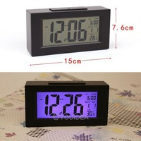 HOT SALE!!! Black& White Digital LED Snooze Alarm Date Desk Clock LCD Screen Display Backlight Sensor  80323-80324