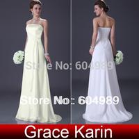 Free Shipping New Grace Karin White/Ivory Chiffon Beach Bridal Dress Floor length Formal  Royal Wedding Dress Bridal Gown CL3184