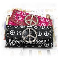 women's long design wallet multi card holder rhinestone zipper purse 2pcs/lot free shipping