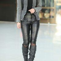 2012 genuine leather pants women genuine leather sheepskin capris high quality Women leather pants
