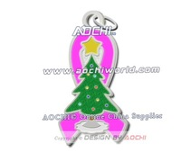 Free Shipping Newest Best Selling High Quality Inflammatory Breast Cancer Awareness Christmas Tree Hot Pink Ribbon Charms