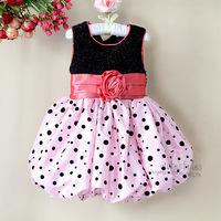 Brand New 2014 Girl Princess Polka Dot Pink Party Dress Girl's Fashion Flower Belt Black Sequins Wedding Prom Dresses Child Wear