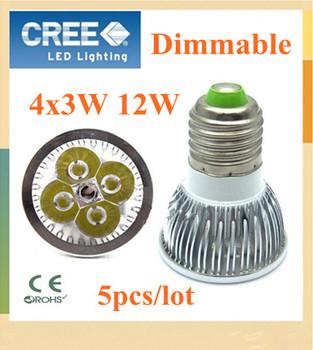 5pcs Home Garden High Power E27 12W dimmable LED lighting Spotlight led bulbs led lamp 85-265V free shipping