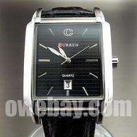 New 2013 Fasnhion And Casual Gentlemen Clock  Quartz Hours Dial Date  Black  Leather Men Wrist  Watch With Calendar