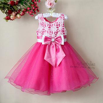 Kids Girl Hot Pink Party Princess Dress Baby Girls Fashion Bow Belt Chiffon Dresses 3-8 Years Child Summer Sleeveless Costumes