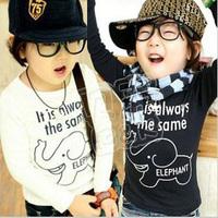 2014 Sale Promotion Freeshipping Regular Character Fashion Unisex Cotton Free Shipping!2013 Spring Children Long-sleeve T Shirt