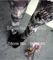 New Fashion Knitting K264 spring-autumn pants women newspaper printing faux jeans pencil pants wholesale retail FREE SHIPPING