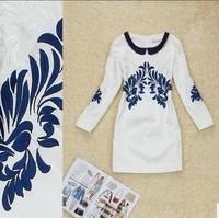 Платье знаменитостей Fancy Fashion Vintage Butterfly Animal Printed With Belt Lace Patchwok Knee-Length Boutique Dress
