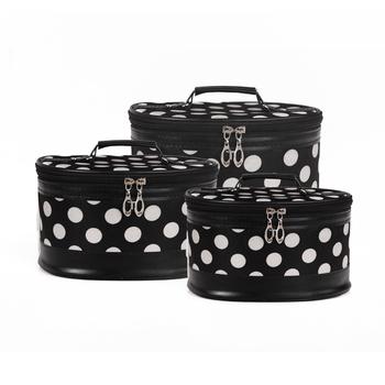 2012 new fashion satin dot professional cosmetic bag women's handbag ladies' small travel storage bag FREE SHIPPING