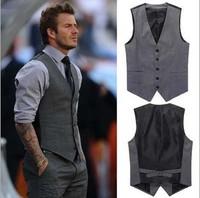 Free Shipping Stylish Beckham Vests Men's Casual Suit Vest Gray Slim Blazers Vest Coat ! M-L-XL-XXL