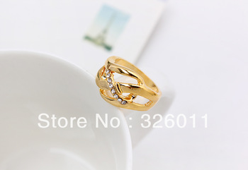 Free Shipping Hot Selling New style High Quality Artificial diamond alloy ring gold plating new concise white stone laser rings
