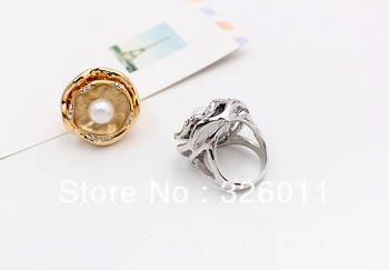 Free Shipping Hot Selling New High Quality Artificial diamond alloy ring gold plating unique double layer lotus leaf alloy rings