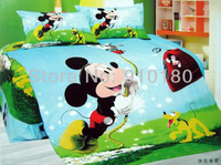 EMS free shipping+New arrivals kids mickey mouse bedding 4pcs/set cotton coloring printing comforter/bedroom set