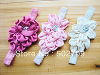 2013 new arrival hot sale quality fabric flowers headband for infant babys girls kids children shine band