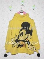 Girls' T-shirt 2013 Girl one-piece dresses long sleeve Sweater Hot drill High collar Mickey cartoon