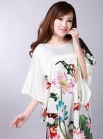 Fashion White Chinese Women's Silk Rayon Robe Gown Nightwear Yukata One Size Free Shipping S01040