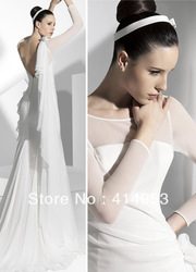Elegant 2013 A Line Long Sleeves White Chiffon Ruched Open Back Western Wedding Dresses(China (Mainland))