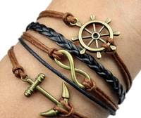 Free Shipping!Handmade Braided PU Leather Cord Bracelet Vintage Sideway Alloy Ship Anchor Infinity Symbol Digit 8 Charm Bracelet