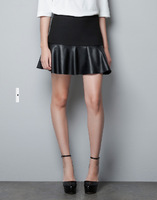 2013 new spring fashion stromatolith mini leather slim elegant skirt patchwork ol style bust short skirts freeshipping 1pcs