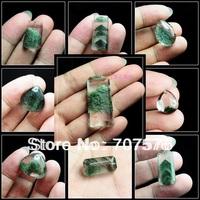 Unusual Natural brazil crystal green ghost pendant drop rangzieb pyramid GREEN PHANTOM CRYSTAL