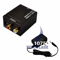 Digital Optical Coaxial Toslink to Analog Audio Converter DAC Fiber with US Plug Adapter Free Shipping 8533(China (Mainland))