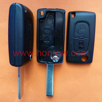 Promotiooal price Citroen 407 blade 2 button flip remote key shell No Battery Place,Citroen remote key blank