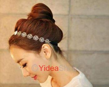 Wholesale - 6pcs New Lovely Simply Hollow Rose Flower Elastic Headwrap Headband Hair Band 261339